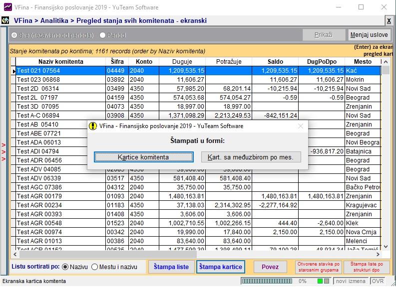 YuTeam Finansije Pregled stanja svih komitenata